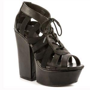 Shellys London Black Laufer Sandal Heels Shoes 6🖤